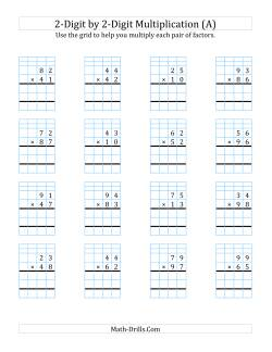 2-Digit by 2-Digit Multiplication with Grid Support (A)