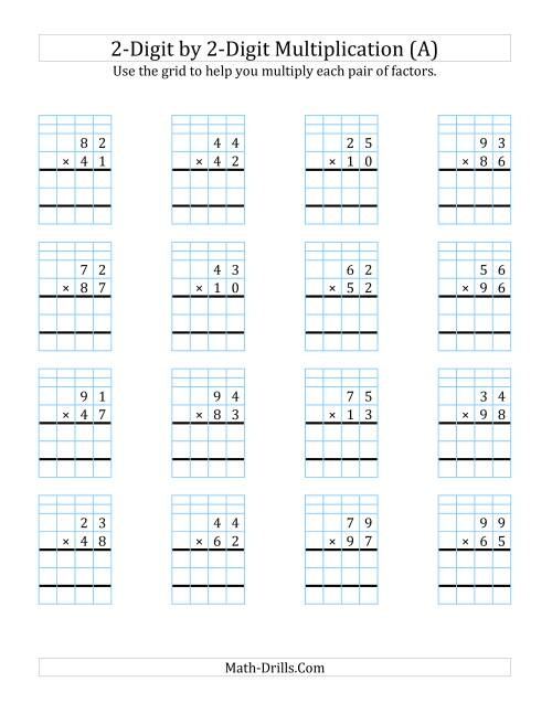 The 2-Digit by 2-Digit Multiplication with Grid Support (A) Math Worksheet