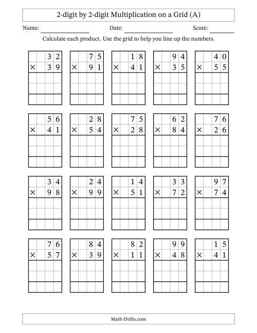 2 digit by 2 digit multiplication with grid support a long multiplication worksheet. Black Bedroom Furniture Sets. Home Design Ideas