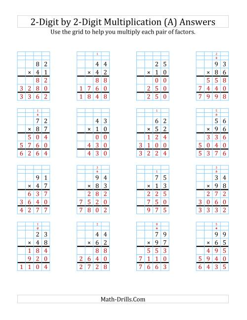 digit by digit multiplication with grid support a  worksheet page  the digit by digit multiplication with grid  support a math