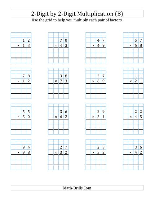 The 2-Digit by 2-Digit Multiplication with Grid Support (B) Math Worksheet