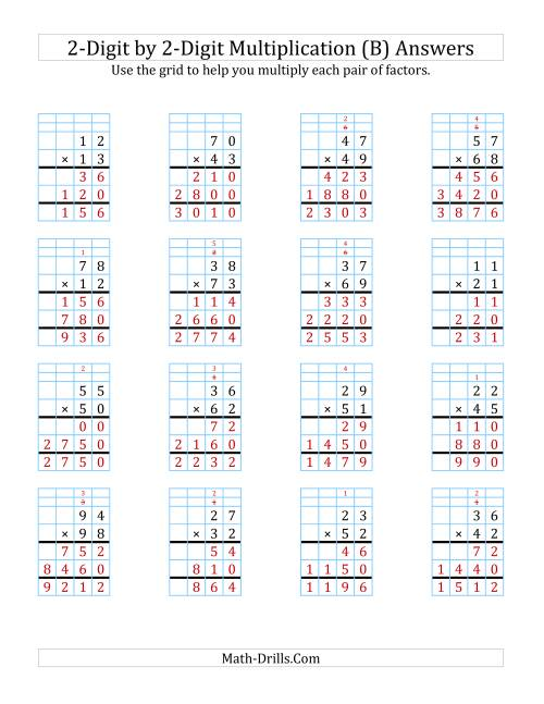 The 2-Digit by 2-Digit Multiplication with Grid Support (B) Math Worksheet Page 2