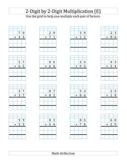 The 2-Digit by 2-Digit Multiplication with Grid Support (E) Math Worksheet