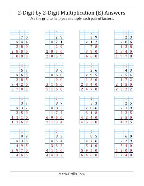 The 2-Digit by 2-Digit Multiplication with Grid Support (E) Math Worksheet Page 2