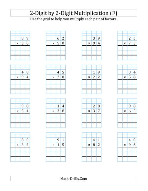 The 2-Digit by 2-Digit Multiplication with Grid Support (F) Math Worksheet