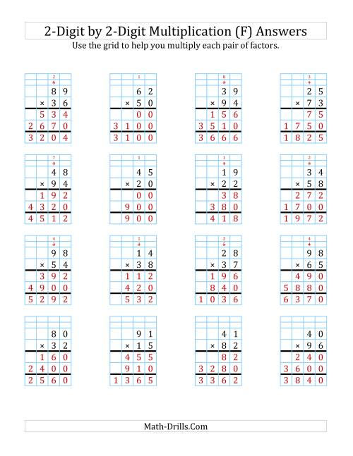 The 2-Digit by 2-Digit Multiplication with Grid Support (F) Math Worksheet Page 2