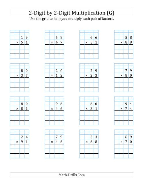 The 2-Digit by 2-Digit Multiplication with Grid Support (G) Math Worksheet