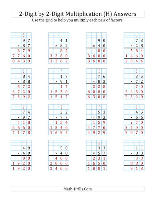 2-Digit by 2-Digit Multiplication with Grid Support (H)