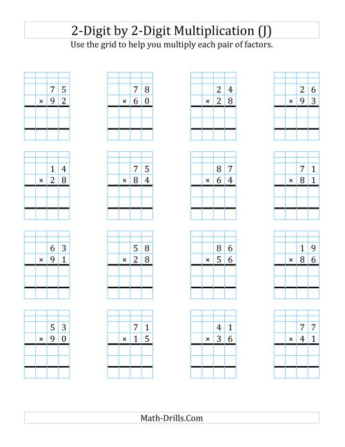 The 2-Digit by 2-Digit Multiplication with Grid Support (J) Math Worksheet