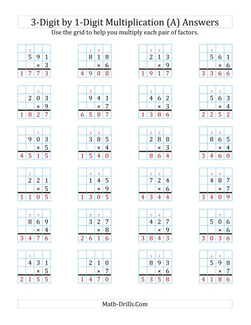 The 3-Digit by 1-Digit Multiplication with Grid Support (A) Math Worksheet Page 2