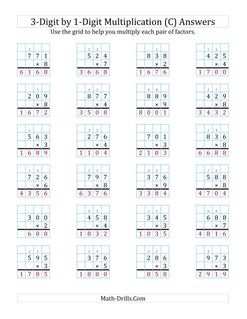 The 3-Digit by 1-Digit Multiplication with Grid Support (C) Math Worksheet Page 2