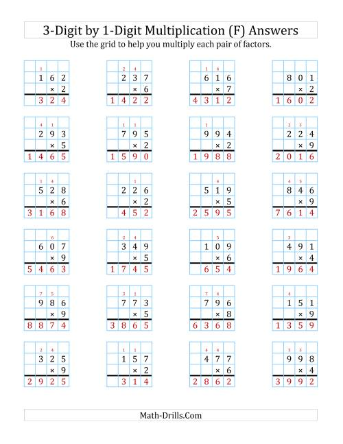 The 3-Digit by 1-Digit Multiplication with Grid Support (F) Math Worksheet Page 2
