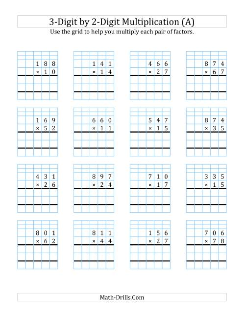 3Digit by 2Digit Multiplication with Grid Support A Long – Multiplication Worksheets by 3