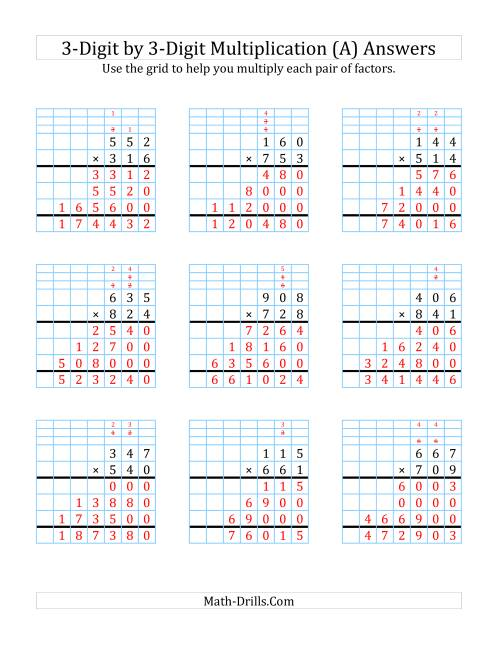 The 3-Digit by 3-Digit Multiplication with Grid Support (A) Math Worksheet Page 2