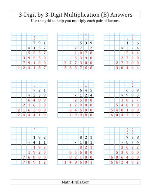 The 3-Digit by 3-Digit Multiplication with Grid Support (B) Math Worksheet Page 2