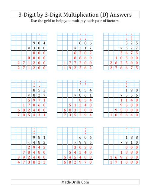 The 3-Digit by 3-Digit Multiplication with Grid Support (D) Math Worksheet Page 2