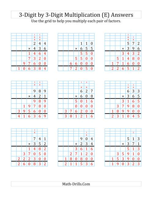 The 3-Digit by 3-Digit Multiplication with Grid Support (E) Math Worksheet Page 2