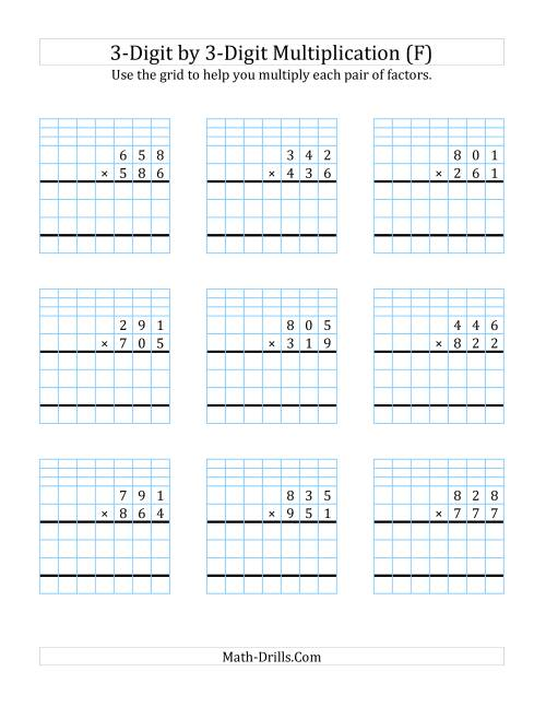 The 3-Digit by 3-Digit Multiplication with Grid Support (F) Math Worksheet