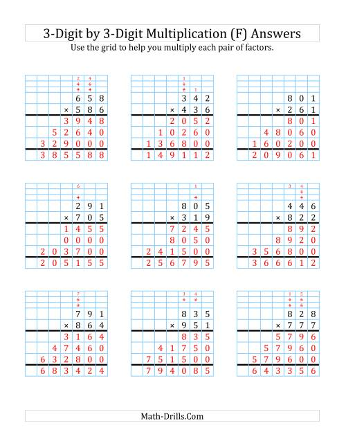 The 3-Digit by 3-Digit Multiplication with Grid Support (F) Math Worksheet Page 2
