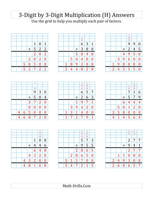 The 3-Digit by 3-Digit Multiplication with Grid Support (H) Math Worksheet Page 2