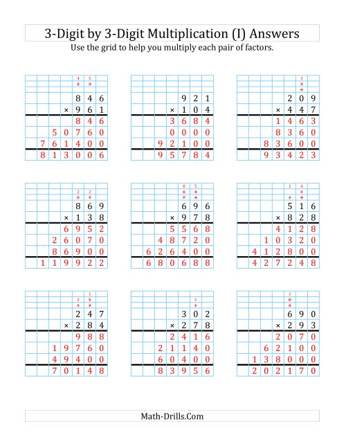The 3-Digit by 3-Digit Multiplication with Grid Support (I) Math Worksheet Page 2