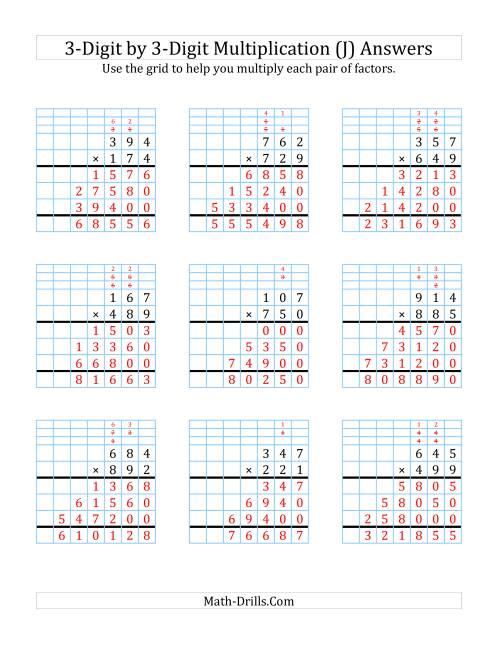 The 3-Digit by 3-Digit Multiplication with Grid Support (J) Math Worksheet Page 2