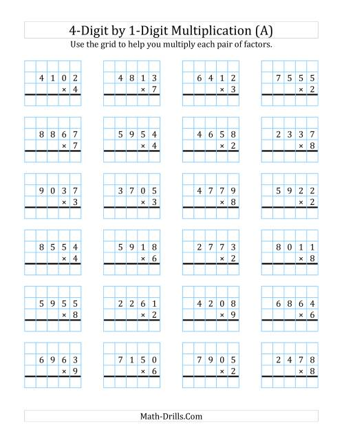 4Digit by 1Digit Multiplication with Grid Support A Long – 4 Digit by 1 Digit Multiplication Worksheets
