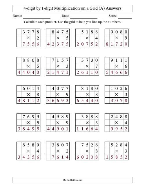 4 digit by 1 digit multiplication with grid support all. Black Bedroom Furniture Sets. Home Design Ideas