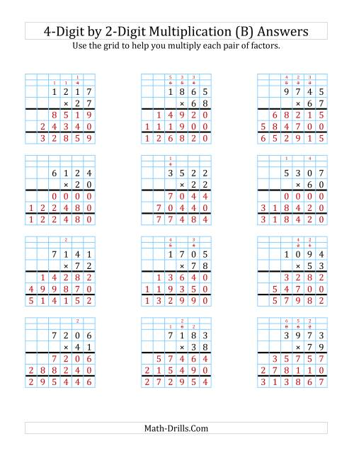 The 4-Digit by 2-Digit Multiplication with Grid Support (B) Math Worksheet Page 2