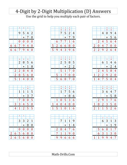 The 4-Digit by 2-Digit Multiplication with Grid Support (D) Math Worksheet Page 2