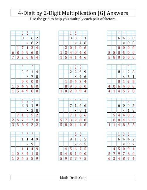 The 4-Digit by 2-Digit Multiplication with Grid Support (G) Math Worksheet Page 2