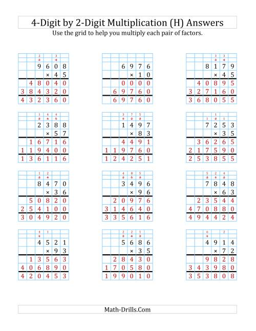 The 4-Digit by 2-Digit Multiplication with Grid Support (H) Math Worksheet Page 2