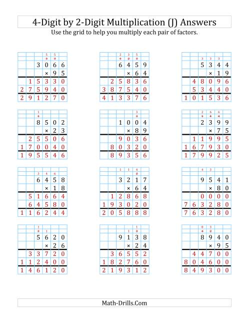 The 4-Digit by 2-Digit Multiplication with Grid Support (J) Math Worksheet Page 2