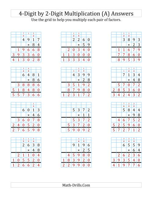 The 4-Digit by 2-Digit Multiplication with Grid Support (All) Math Worksheet Page 2