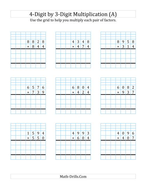 4Digit by 3Digit Multiplication with Grid Support A – 4 Digit by 3 Digit Multiplication Worksheets