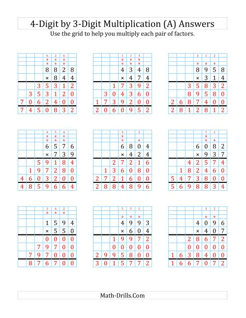The 4-Digit by 3-Digit Multiplication with Grid Support (A) Math Worksheet Page 2