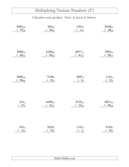 The Multiplying Various Base Numbers (C) Math Worksheet