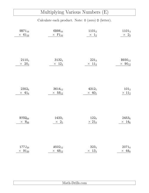 The Multiplying Various Base Numbers (E) Math Worksheet