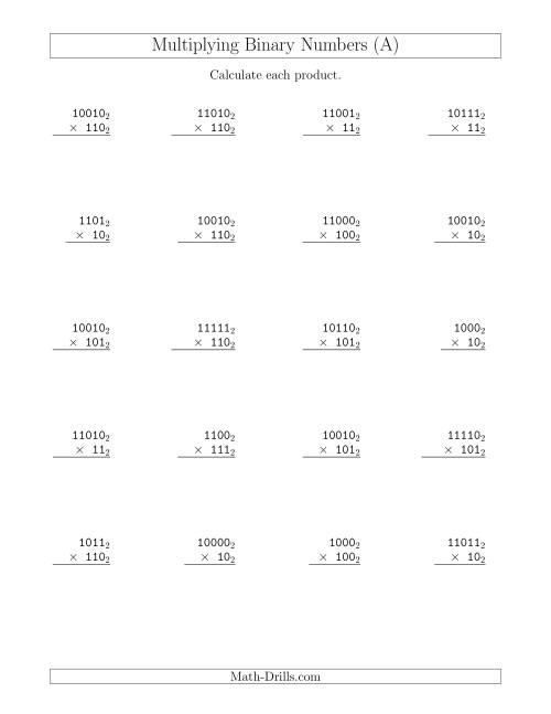 The Multiplying Binary Numbers (Base 2) (A) Math Worksheet