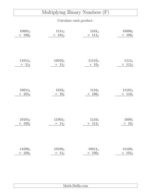 The Multiplying Binary Numbers (Base 2) (F) Math Worksheet