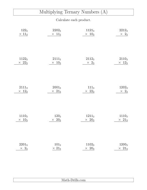 The Multiplying Ternary Numbers (Base 3) (A) Math Worksheet