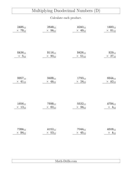 The Multiplying Duodecimal Numbers (Base 12) (D) Math Worksheet