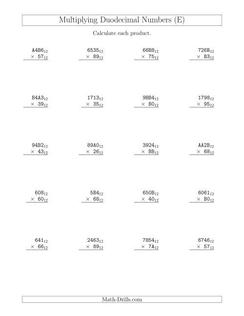 The Multiplying Duodecimal Numbers (Base 12) (E) Math Worksheet