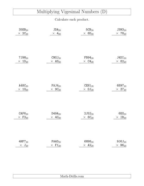 The Multiplying Vigesimal Numbers (Base 20) (D) Math Worksheet
