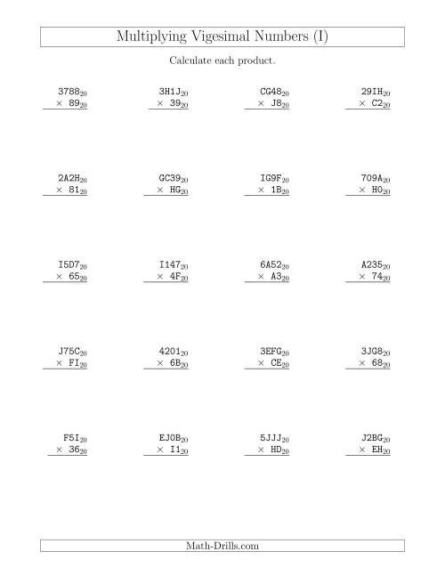 The Multiplying Vigesimal Numbers (Base 20) (I) Math Worksheet