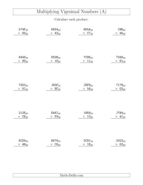 The Multiplying Vigesimal Numbers (Base 20) (All) Math Worksheet