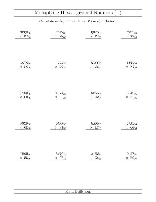 The Multiplying Hexatrigesimal Numbers (Base 36) (B) Math Worksheet