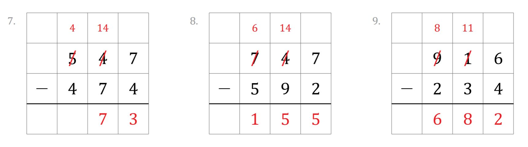 Grid subtraction example questions
