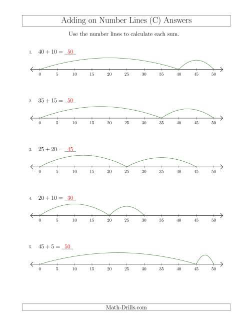 The Adding up to 50 on Number Lines with Intervals of 5 (C) Math Worksheet Page 2