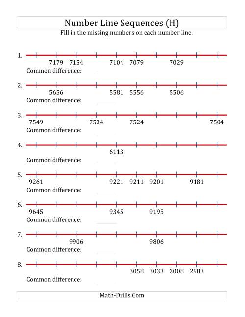 The Decreasing Number Line Sequences with Missing Numbers (Max. 10000) with Custom Common Differences (H) Math Worksheet